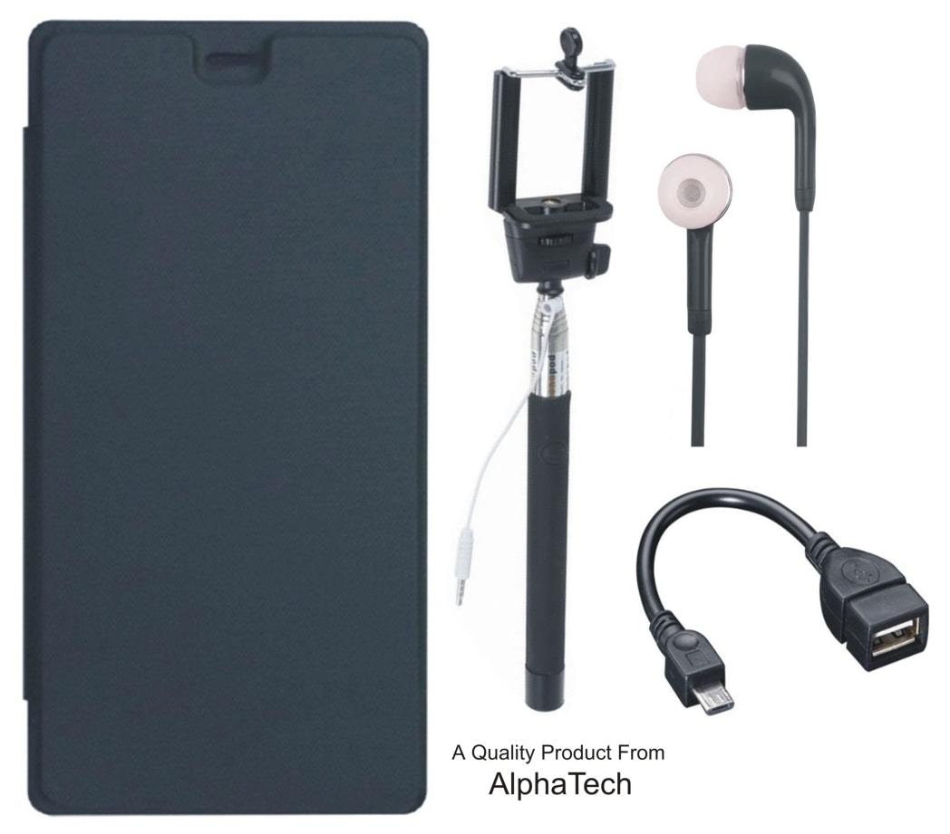quality design 1d3cc 5525b Matrix Cover for Micromax Bolt Q326 with Free Selfie Stick, Earphones and  OTG Cable