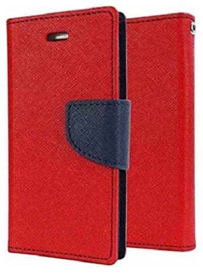Mercury Magnetic Lock Wallet Style Flip Cover Case for Motorola Moto E5 Plus  Red
