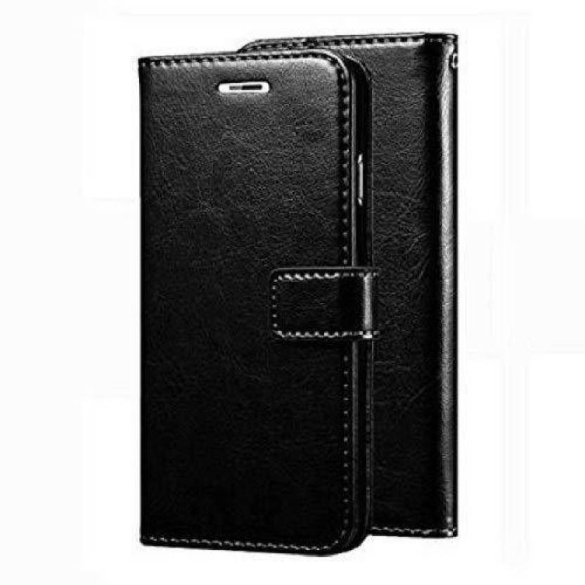 MFISHING Leather Flip Cover For Mi Redmi 3S Prime   Black   by Action World