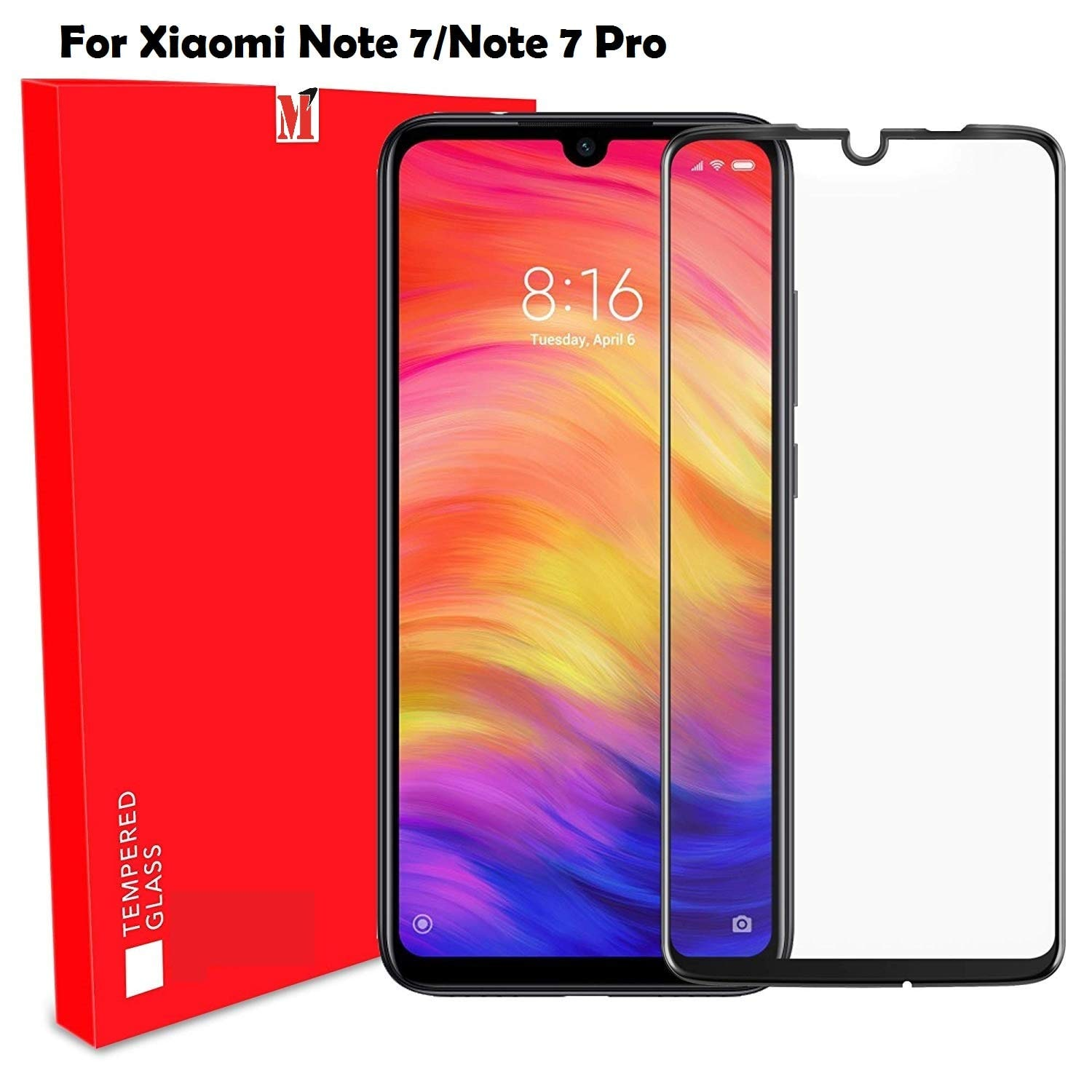 Mi Note 7/Note 7 pro Tempered Glass Full Glue A-Original Tempered Glass...