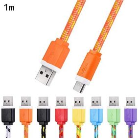 Micro USB Cable 1M Flat Braided High Speed Data Synchronization Charger Cord for Android Smart Phones # International Bazaar