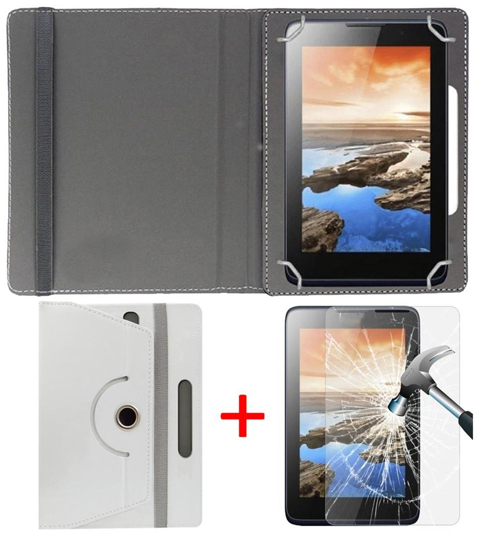 Micromax Canvas Tab P70221 Book Cover + Free Tempered Glass by Hello Zone White