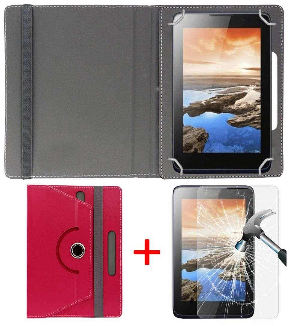 Micromax Funbook P365 Book Cover + Free Tempered Glass by Hello Zone Pink