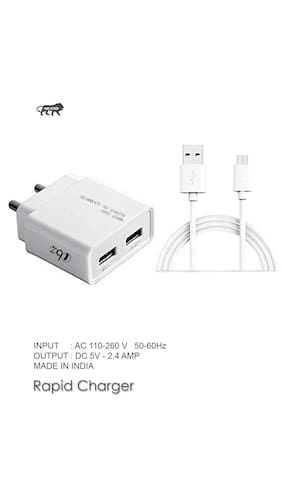 Micromax Supported Wall Charger, Travel Charger, Mobile Charger, Dual Port USB Adapter With Micro USB Cable By TBZ Smart And Fast Charging