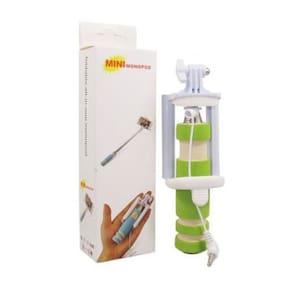 Mini Green Portable Wired Selfie Stick Extendable Monopod