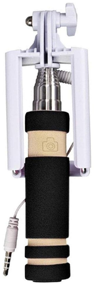 Mini Selfie Sticks with Aux Cable And  for All Smartphones Black