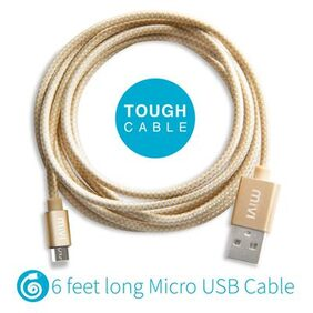 6ft long Nylon Braided Original Mivi Tough Micro USB Cable (Gold)