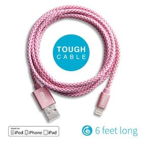 Apple Certified 6ft long Nylon Braided Original Mivi Tough Lightning Cable for iPhone iPad or iPod (Rose Gold)