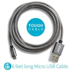 6ft long Nylon Braided Original Mivi Tough Micro USB Cable (Black)