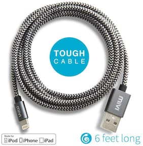 Apple Certified 6ft long Nylon Braided Original Mivi Tough Lightning Cable for iPhone iPad or iPod (Black)