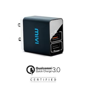 Mivi Quick Charge Wall Charger with Auto-Detect Technology compatible with all Devices (Black)