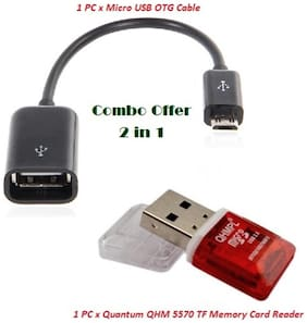 Mobile Accessories Combo Of Micro USB OTG Cable with QHM 5570 TF Memory Card Reader