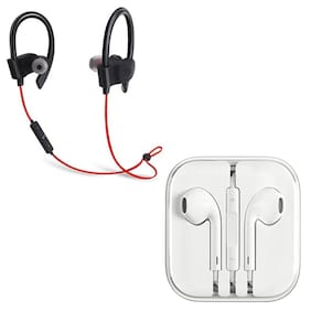 MOBILE FUSION Earphone Wired Headphone Plus Bluetooth Headset Device For All Smartphones (White)