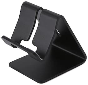 Mobile Phone/Tablet/iPad Stand Holder Metal Mate For Desktop/Table or Kitchen Made Of Aluminium With Anti-Skid Pads (Black Colour)