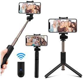 Mobilife Bluetooth Extendable Selfie Stick with Wireless Remote and Tripod Stand Selfie Stick (Black)
