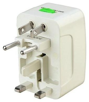 MOGRAB All IN ONE INTERNATIONAL ADAPTOR UNIVERSAL WORLD WIDE TRAVEL CHARGER ADAPTOR PLUG  WHITE  by Laxmi Communications