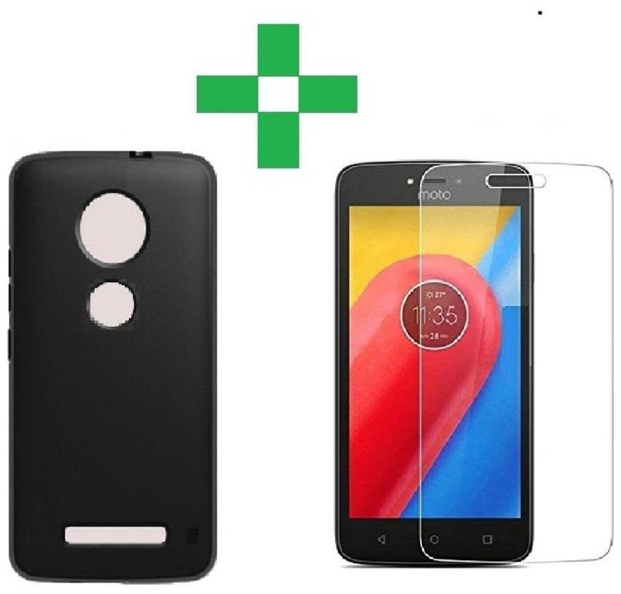 Motorola Moto C plus back cover black with tempered glass