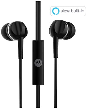 Motorola Pace 100 with alexa In-ear Wired Headphone ( Black )