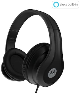 Motorola Pulse 110 with alexa Over-ear Wired Headphone ( Black )