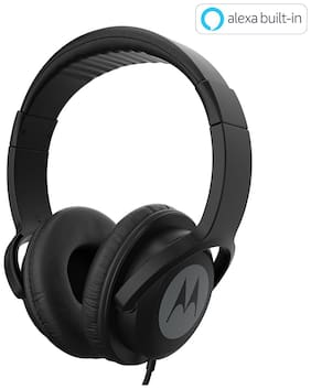 Motorola PULSE 100 WITH ALEXA Over-ear Wired Headphone ( Black )