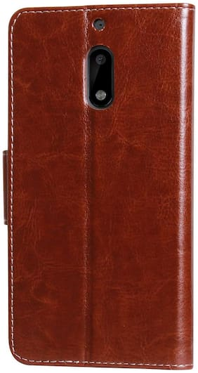 MPE Leather Flip Cover For Nokia 6 ( Brown )