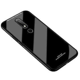 MPE Glass & Rubber Back Cover For Nokia 3.1 Plus ( Black )