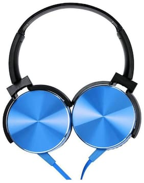 MS TRADING COMPANY XB-450 Over-Ear Wired Headphone ( Blue & Black )