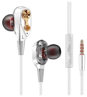 MS TRADING COMPANY Dual Driver DD-160 In-Ear Wired Headphone ( Silver )