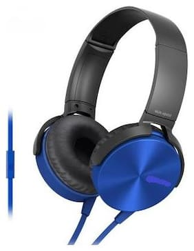 MS TRADING COMPANY XB-450 Over-Ear Wired Headphone ( Blue )
