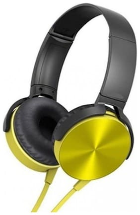QUXXA XB-450 Over-Ear Wired Headphone ( Yellow )