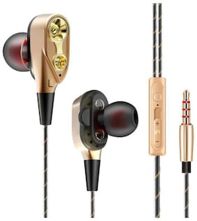QUXXA Dual Driver DD-130 In-Ear Wired Headphone ( Gold & Black )