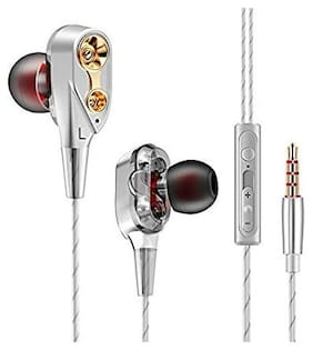 QUXXA Dual Driver DD-120 In-Ear Wired Headphone ( Silver )