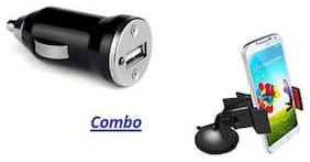 MSTC Combo of 1 Port Car Charger with Car Mobile Holder