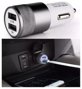 MSTC High Speed 2 USB Port Metal Car Charger Adapter For Android/Iphones (Assorted Color)