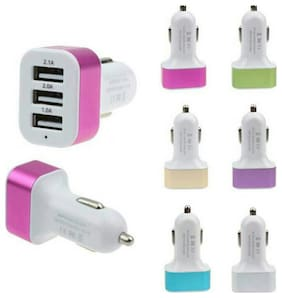 MSTC High Speed 3 USB Port Metal Car Charger Adapter For Android/Iphones (Assorted Color)