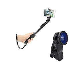 My Style Selfie Monopod Stick with Bluetooth Remote Controller & Universal 3 in 1 Mobile Camera Lens for All Android & iOS Device