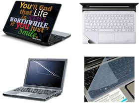 Namo Arts 4in1 Laptop Accessories Combo -  Just Smile Laptop Skins 15.6 Inch Stickers With Laptop TrackPad Skin , Laptop Screen Protector And Laptop KeyGuard For All Laptop - Notebook