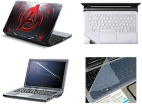 Namo Arts 4in1 Laptop Accessories Combo -  Avengers Red Metal Laptop Skins 15.6 Inch Stickers With Laptop TrackPad Skin , Laptop Screen Protector And Laptop KeyGuard For All Laptop - Notebook