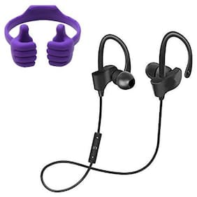 NORY Bluetooth Headset and Mobile Holder Black;Purple Color