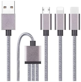 Nylon(Fiber) 3 in 1 USB Charging Cable with 8 Pin Lightning  USB Type-C  Micro USB Charging Cable Connector Compatible with All Smartphones