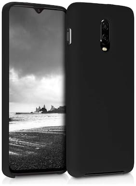 OnePlus 6T Polyester & Silicone Back Cover By Accessories Kart ( Beige & Black )