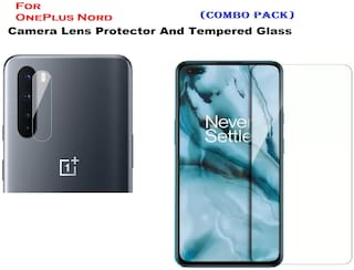 OnePlus Nord Full Coverage Tempered Glass & Mobile Camera Lens Protector (COMBO PACK)