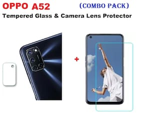 "OPPO A52 ""Full Coverage Tempered Glass & Mobile Rear Camera Lens Protector (COMBO PACK) """