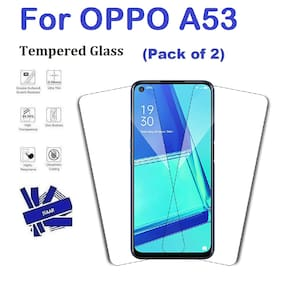 OPPO A53 Full Coverage Tempered Glass (Pack of 2)