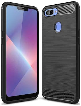 Oppo A5s LIRAMARK Shockproof Rugged Armor Carbon Fiber Silicone Soft Back Case Cover - Black