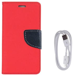 Oppo F7 Luxury Mercury Magnetic Lock Diary Wallet Style Flip Cover Case + DATA  Cable for  Oppo F7