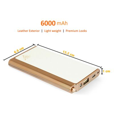 Parallel Universe 6000 mAh PowerTank External Power Bank with High Speed Charging compatible with all mobiles and tablets - PU Leather and Gold Electroplated