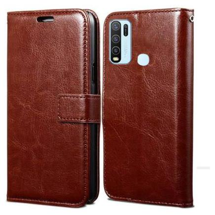 Parshu Flip Cover For Vivo Y50 (Classic Brown)
