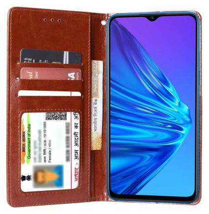 Parshu Faux Leather Flip Cover For Realme 5 ( Brown )