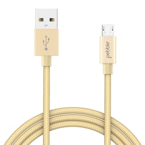 Pebble Rapid - Fast Charging Nylon Braided Charge and Data transfer MicroUSB Cable 1 Mtr (Gold)